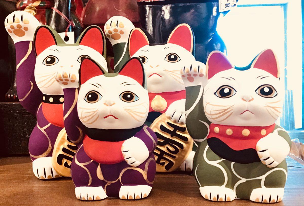 唐草   手描き招き猫